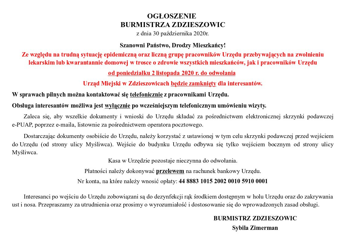 Ogłoszenie Burmistrza Zdzieszowic z 30 października 2020 r. w sprawie zamknięcia dla interesantów Urzędu Miejskiego od 2 listopada 2020 r. do odwołania.