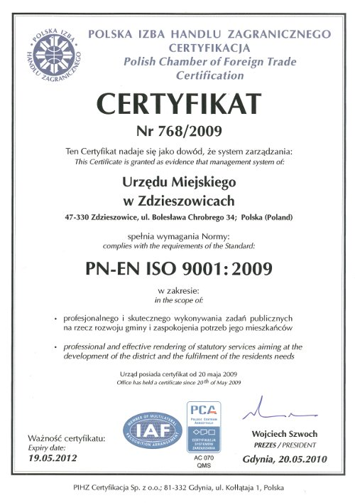 Certyfikat ISO 9001:2009